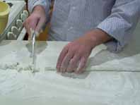 Cutting the ricotta gnocchi dough