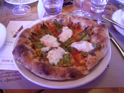 Squash blossom, burrata, and tomato pizza at Pizzaria Mozza in Los Angeles, California