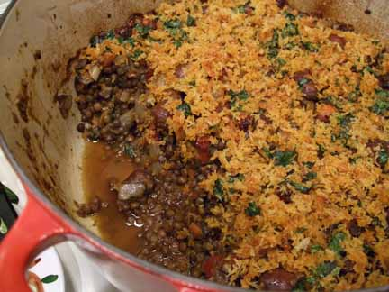Florence Fabricant's Lentils with Merguez
