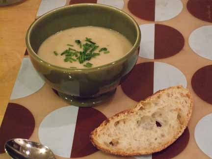 Mark Bittman's Potato and Leek Soup and a Slice of Jim Lahey's No-KneadBread