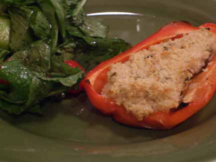 Red Peppers Stuffed with Quinoa and Goat Cheese