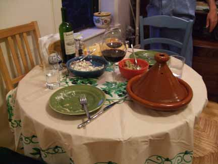 Table with mezze and Tagine