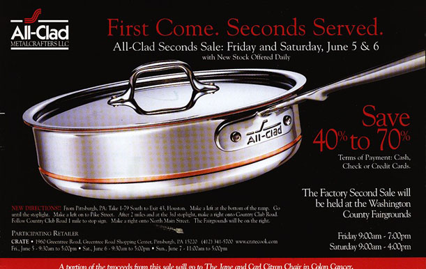 itu0027s that time of year again allclad seconds sale is next weekend june 5th and 6th last year i made the trip to the washington county