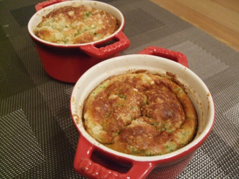 Spinach souffles in mini cocottes